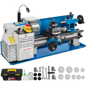 550w 7 x14 Precision Mini Metal Lathe W lamp Drilling Wear resistant Durable