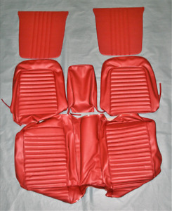 1965 Mustang Coupe Red Front And Rear Seat Cover Set With Front Bench Seat