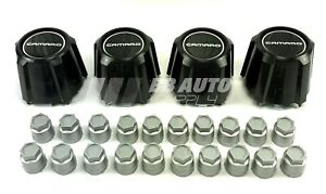 Black 15 Wheel Center Caps Silver Lug Nut Covers New For 82 92 Chevy Camaro