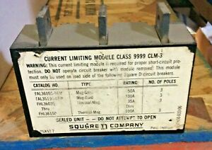 9999clm3 Square D Sqd Current Limiting Module Class 9999 Clm 3 Used