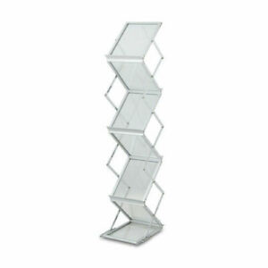 Folding Metal Literature Rack Stand Holder 6 Compartment Display Brochures Case