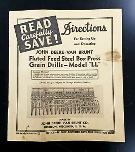 Vintage John Deere Van Brunt Model Ll Grain Drill Directions Manual 1949