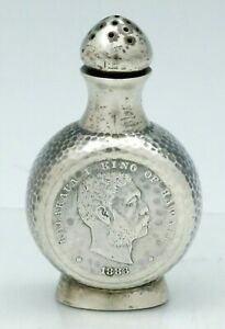 Shreve Sterling Pepper Pot Salt Coins King Of Hawaii C1890