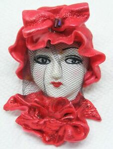 Roaring 20's Red Hat Veil Lady Face Flapper Brooch Pin