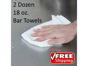 24 Pack 16 X 19 18 Oz Solid White 100 Cotton Ribbed Terry Bar Towels