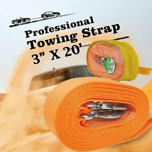 8 Ton Heavy Duty Strength Tow Strap 3 X 20 Truck Pulling Towing Rope 18000lb