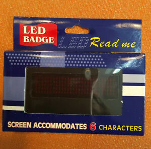 Scrolling Name Badge Red Led Message Display Magnetic W 2 Batteries