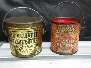 2 ANTIQUE BAYLE & OLD RELIABLE PEANUT BUTTER TINS LITHO 1LB PAIL GROCERY STORE