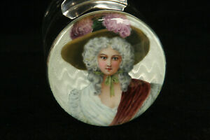 Stunning 1902 Enamel Portrait Sterling Silver English Glass Bath Salts Jar