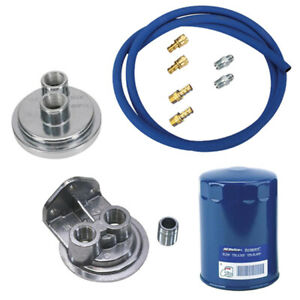 Small Block Chevy Remote Oil Filter Relocation Kit Vertical Port