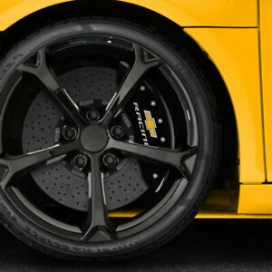 Black Chevy Racing Caliper Covers Fits Brembo For 2015 2017 Chevy Ss By Mgp