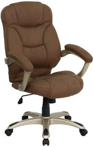 High Back Brown Microfiber Executive Office Desk Chair W built in Lumbar Support