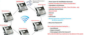 6 Phones 4 Line Phone System For Small Business Auto Attendant Intercom Paging