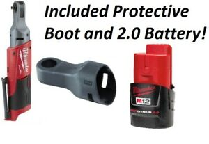 Milwaukee 2557 20 M12 Fuel 3 8 Drive Ratchet With Protective Boot 2 0 Battery