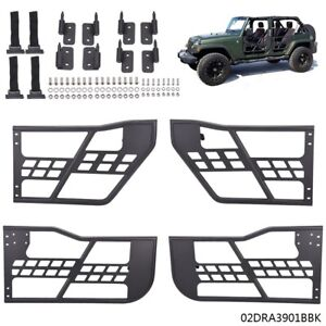 For 07 18 Jeep Wrangler Jk 4 Door Steel Tube Door Safari Black Without Mirrors