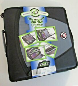 Case it Mighty Zip Tab 3 inch Zipper Binder Black D 146 blk New