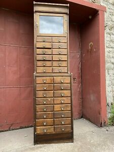 1900s Union Made Lousiville Ky 28 Drawer Watchmakers Cabinet Ledger Apothecary