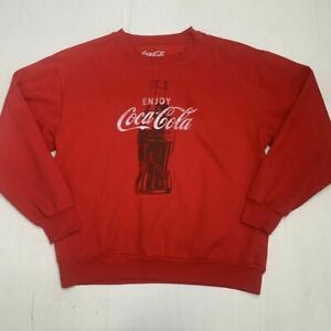 Coca Cola Sweater Adult Size Large Long Sleeve Enjoy Coke Red Cotton Pullover