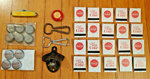 Coca Cola Collectibles - Bottle opener  cap  pocket knife  matches  tape measure