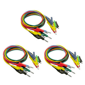 15x Multicolor Banana Plug To Alligator Clip Cable Line Electric Accessories