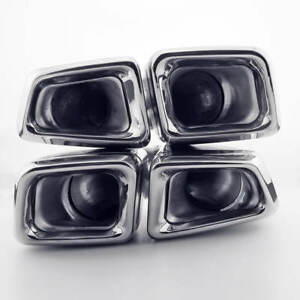 2 4 Inlet Quad Exhaust Tips Dual Square Slant Cut Staggered For Mercedes Benz