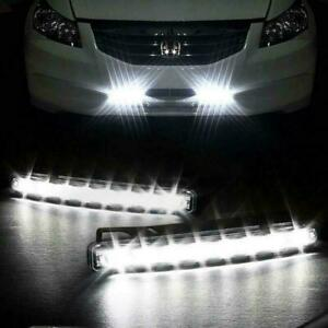 2x Car Vehicle 8 led Daytime Running Light Drl White Bright Front Fog Strip 12v