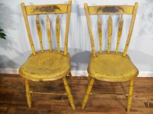 Set 2 Antique Windsor Plank Seat Original Paint Chairs Mustard Yellow