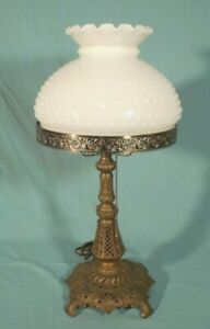Antique Victorian Art Nouveau Metal Lamp Base With Milk Glass Shade