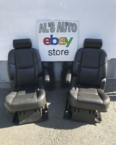 07 14 Chevy Tahoe Cadillac Escalade Gmc Yukon Captain Chairs Black Leather Oem