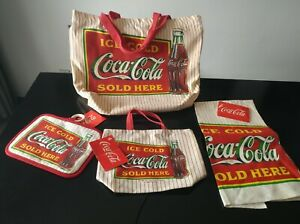 1992 Coca Cola (New) Linen Dish Towel, Pot Holder, Bag. Plus Linen Grocery Bag