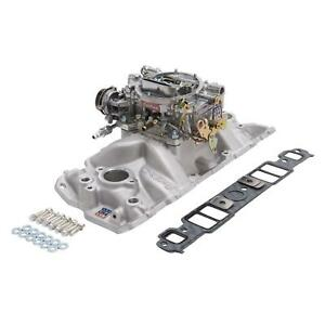 Edelbrock 2021 Single quad Intake Manifold carburetor Kit Chevy