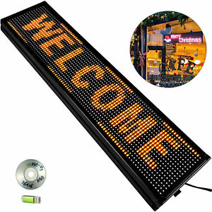 40 X 8 Led Sign Outdoor Scrolling Led Sign Yellow Massage Advertising Board