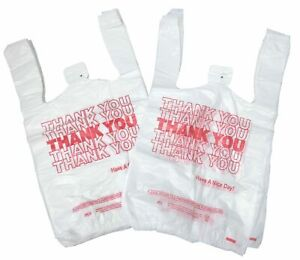 New 100 Ct Plastic Shopping Bags T shirt Style Grocery White V small Size Bags