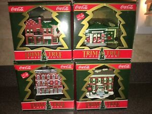 Coca Cola Ornament Set Trim A Tree Collection 1991 Pharmacy Gas Station House Co