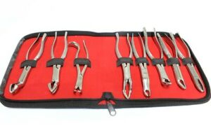 8 Pc Set Of Dental Extracting Forceps With Velvet Pouch