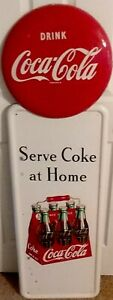 Large Rare 1947 Coca Cola Carton Pilaster Sign With Red Button