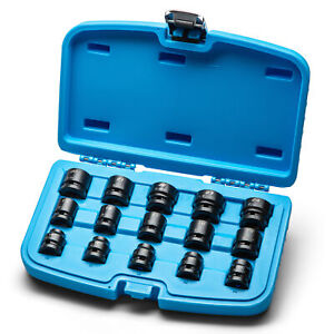 Capri Tools 1 2 In Drive Stubby Impact Socket Set Metric 10 To 24 Mm 15 Pc
