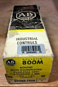 Allen Bradley 800mr fx6a Small 2 Postion Push Pull Red Cap 1no 1nc New