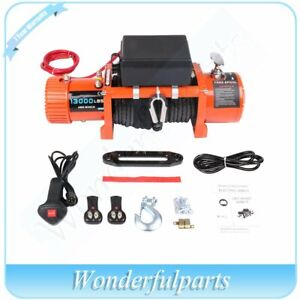 Electric Winch 12v 13000lb Ip67 Waterproof Truck Trailer Synthetic 4wd 12000lb