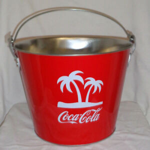 New Coca Cola Ice Bucket Metal New with Palm Trees and Handle Barbados Caribbean