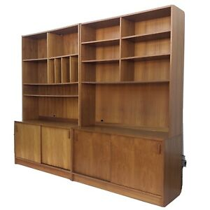 Pair Mid Century Teak Bookshelves