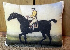 Primitive Folk Art Horse And Rider Pillow