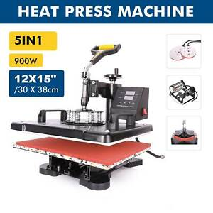 5 In 1 12x15 Heat Press Machine Digital Transfer Sublimation Machine Cap Hat Mug