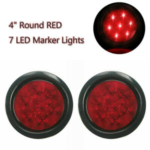 Red 2pcs 4 Inch 7 Led Marker Lights Round Car Truck Stop Clearence Tail Lamp