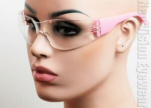 Erb Lucy Pink Frame Clear anti Fog Lens Safety Glasses Womens Z87 17946
