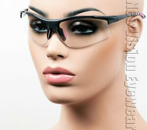 Erb Ella Gray pink Clear Lens Safety Glasses Womens Motorcycle Z87