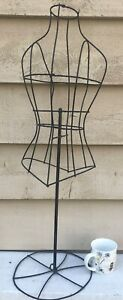 Topiary dress Form Large Galvanized Wire Painted Black 32 Tall