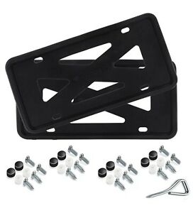 Black 2x Silicone License Plate Frame With Installation Hardware Screws Pair