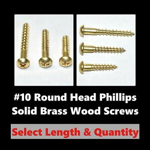 10 Round Head Phillips Solid Brass Wood Screws Phillips select Length Qty