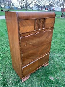 Vintage Art Deco Waterfall Top Highboy Dresser Chest
